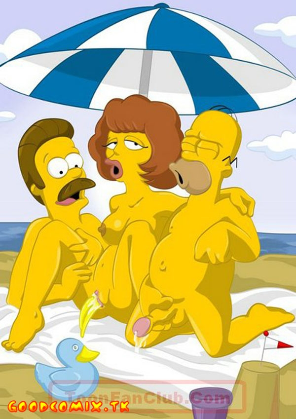 Simpsons And Flanders On The Beach-01
