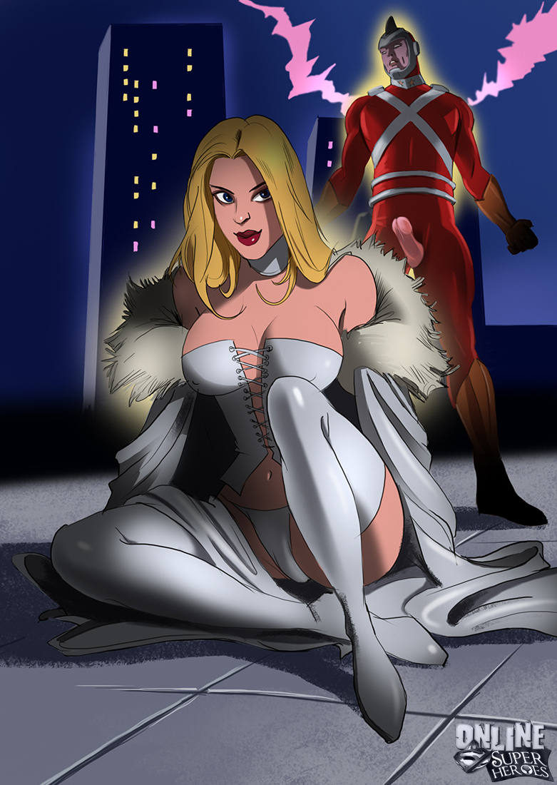 SureFap xxx porno Crossover Heroes - [Online SuperHeroes] - Emma Frost Gets Anal And A Facial From Adam Strange