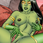 Guardians of the Galaxy — [Leandro Comics] — Gamora Pleasures Herself With a Yellow Cock Shaped Sex Toy!