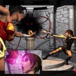 Crossover - [Mongo Bongo][3D] - Lara Croft and Wonder Woman Vs Terrible Overlord