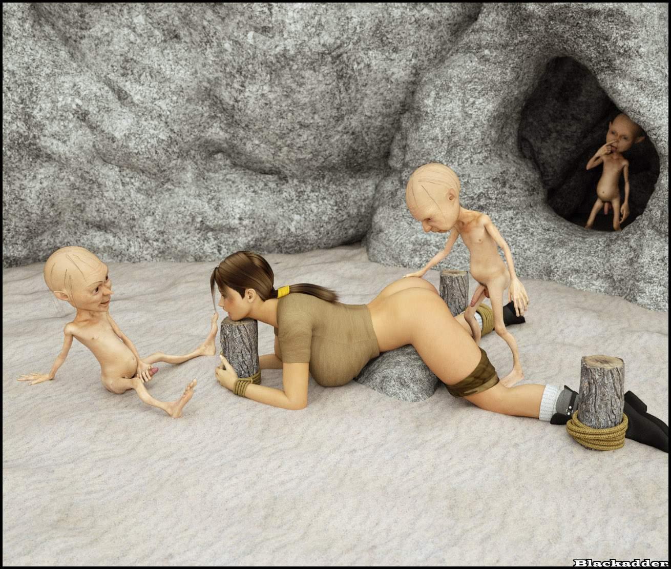 SureFap xxx porno Crossover - [Sasha2000Dog] - Lara in Captivity of Small Gollums
